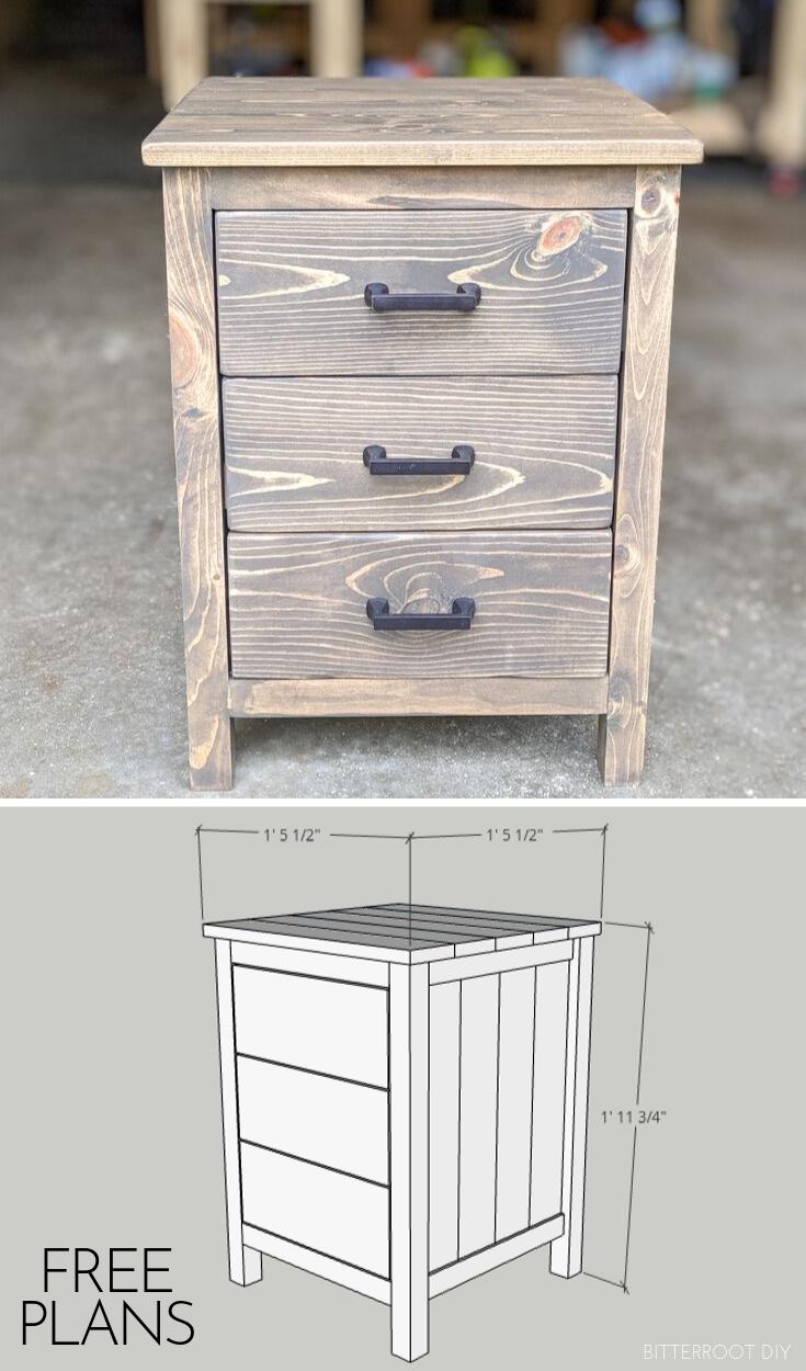 3 Drawer Nightstand Diy Nightstand Diy Furniture Plans Nightstand Plans