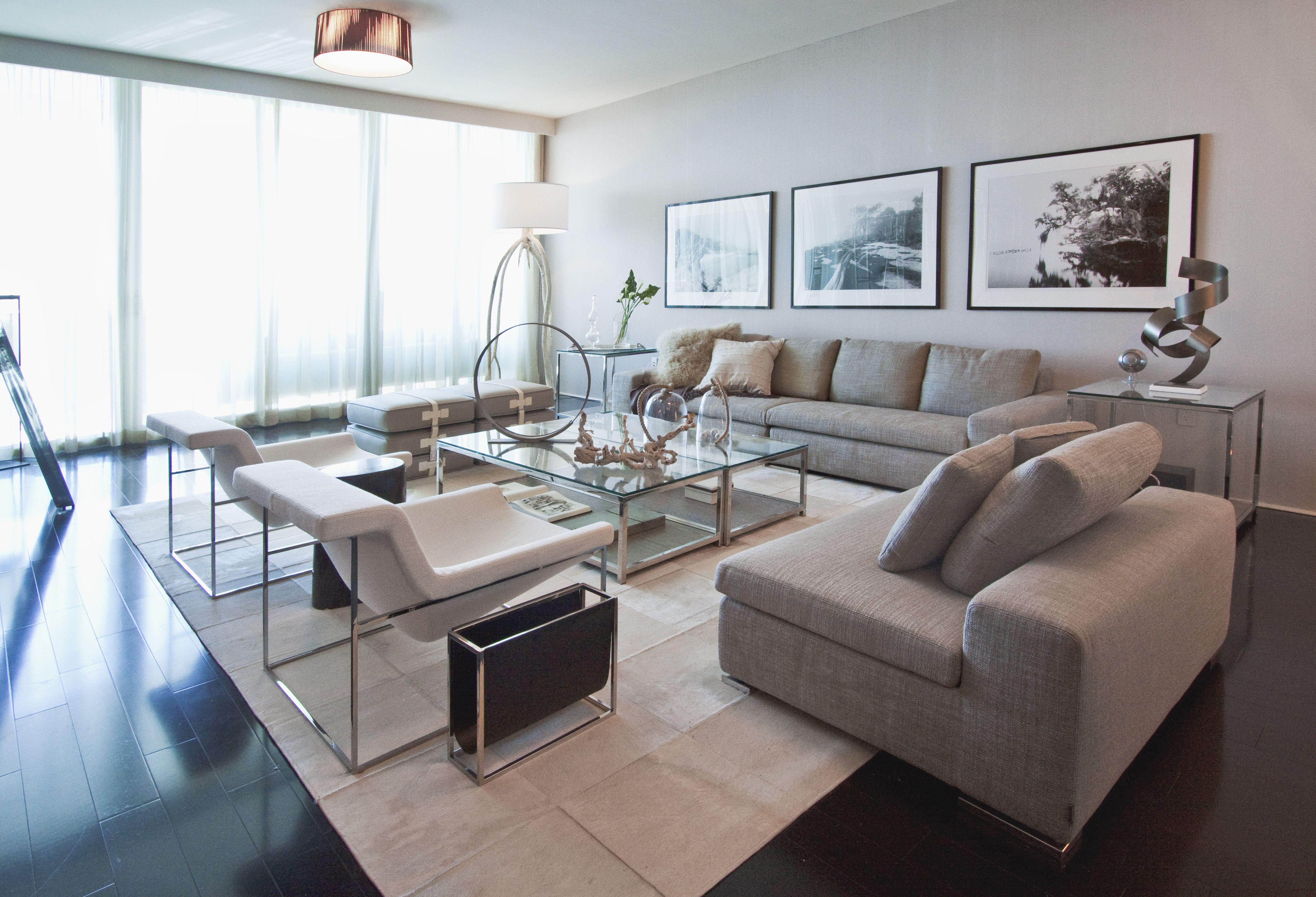 Living Room Interior Design Project in The Bath Club Miami Beach