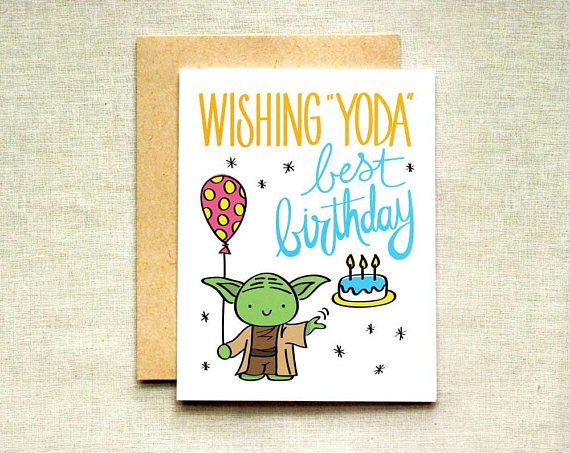Yoda Birthday Card Star Wars Birthday Card Happy Birthday To Ello