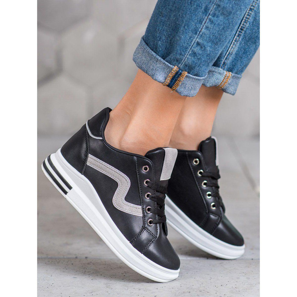 Shelovet Buty Sportowe Z Ukryta Koturna Czarne Vans Old Skool Sneaker Vans Sneaker High Top Sneakers
