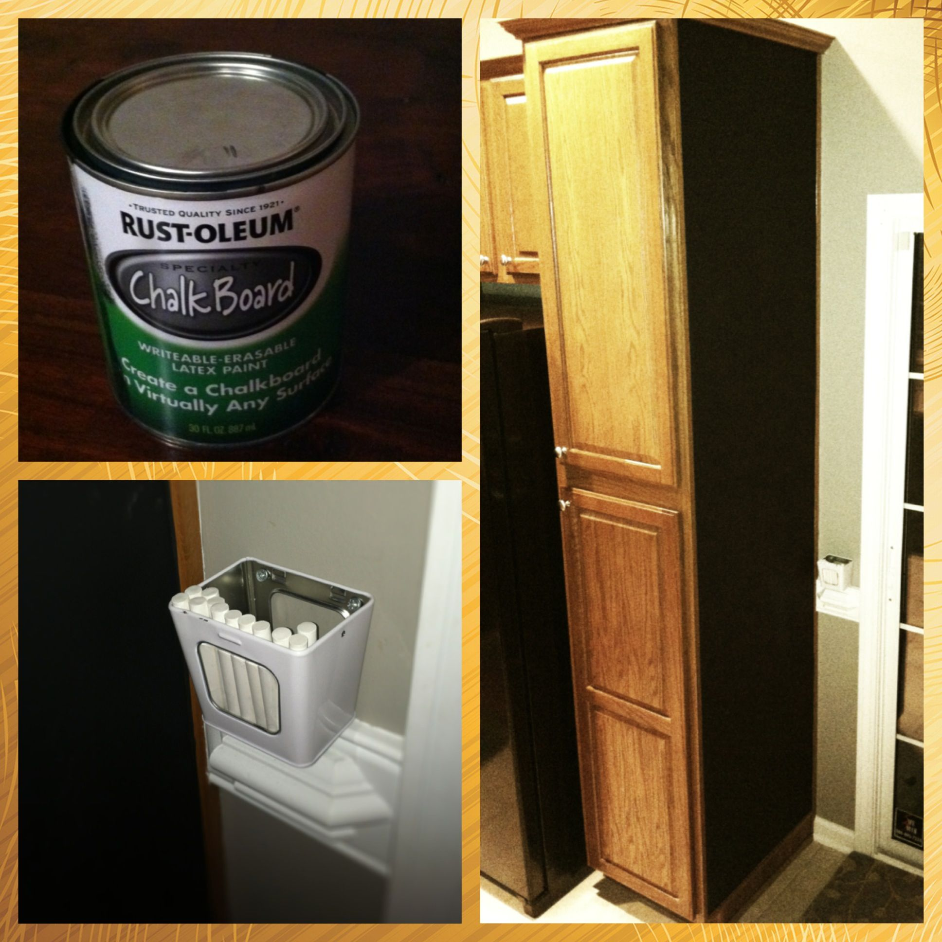 Chalkboard Painted Cabinet I Painted The End Of Our Kitchen Cabinets With Chalkboard Paint To Use As A Chore Painting Cabinets Home Upgrades Chalkboard Paint