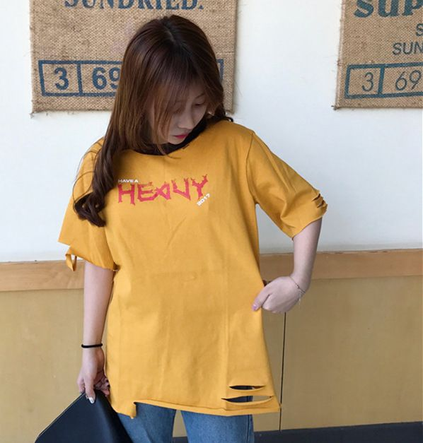 Real shot 2017 spring and summer new round neck hole letters printed loose short sleeve T shirt female tide