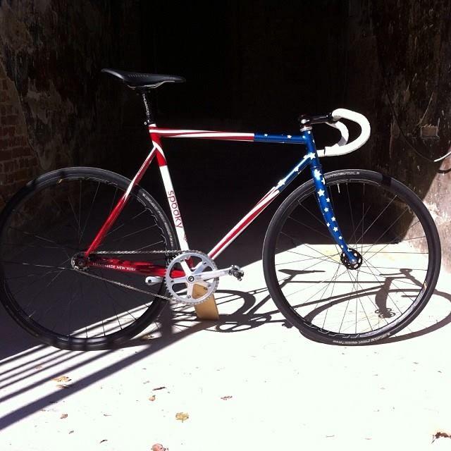 """...fillet-brazed steel track bike with a rad paintjob."" by Spooky bikes"