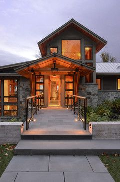 Vermont Mountain House Entry - rustic - Exterior - Burlington - Marcus Gleysteen Architects