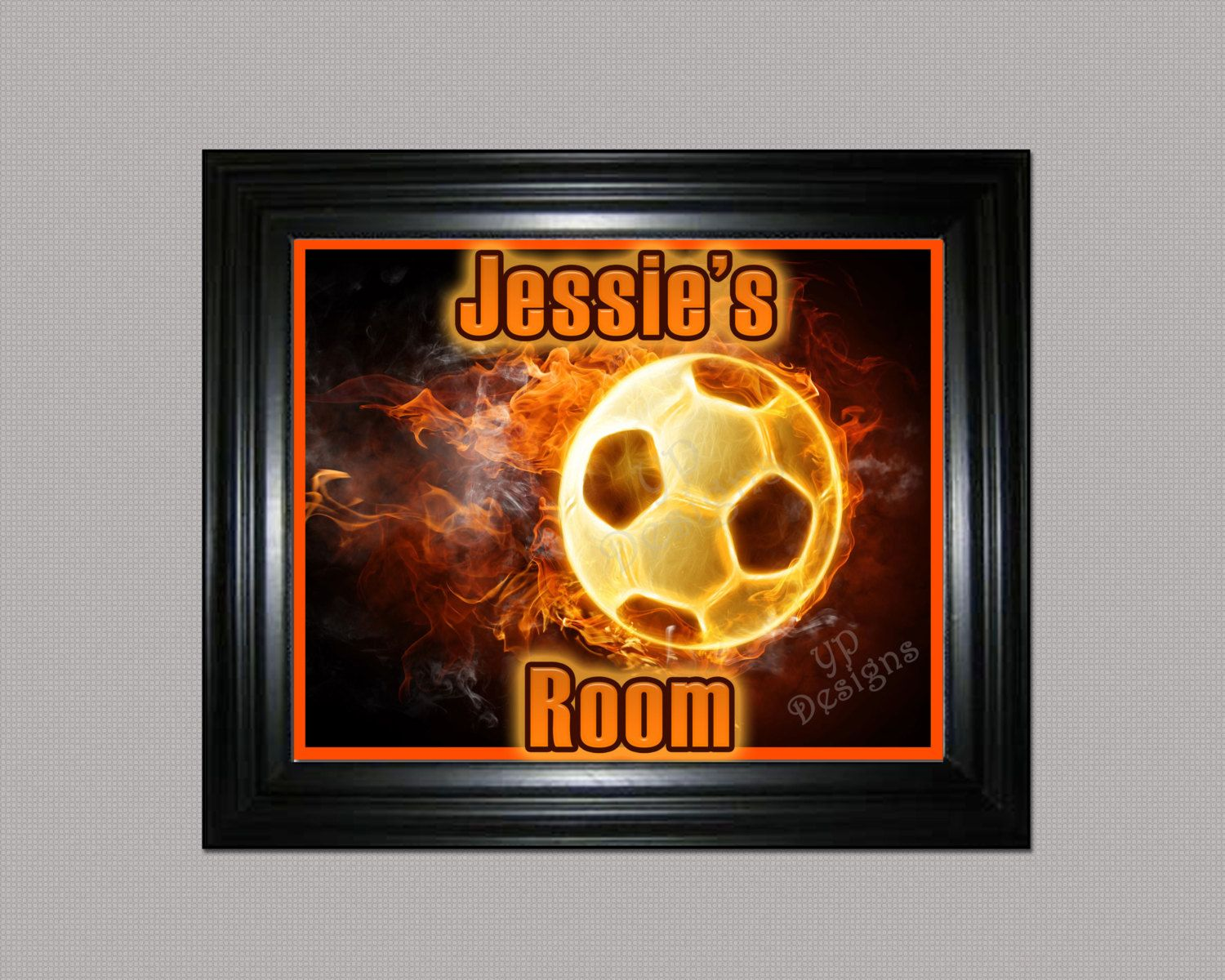 "Soccer Theme ""Personalized Name Poster"" Print 8 x 10 - Customized Soccer Sports Room Decor Wall Print by YankeePeachDesigns on Etsy"