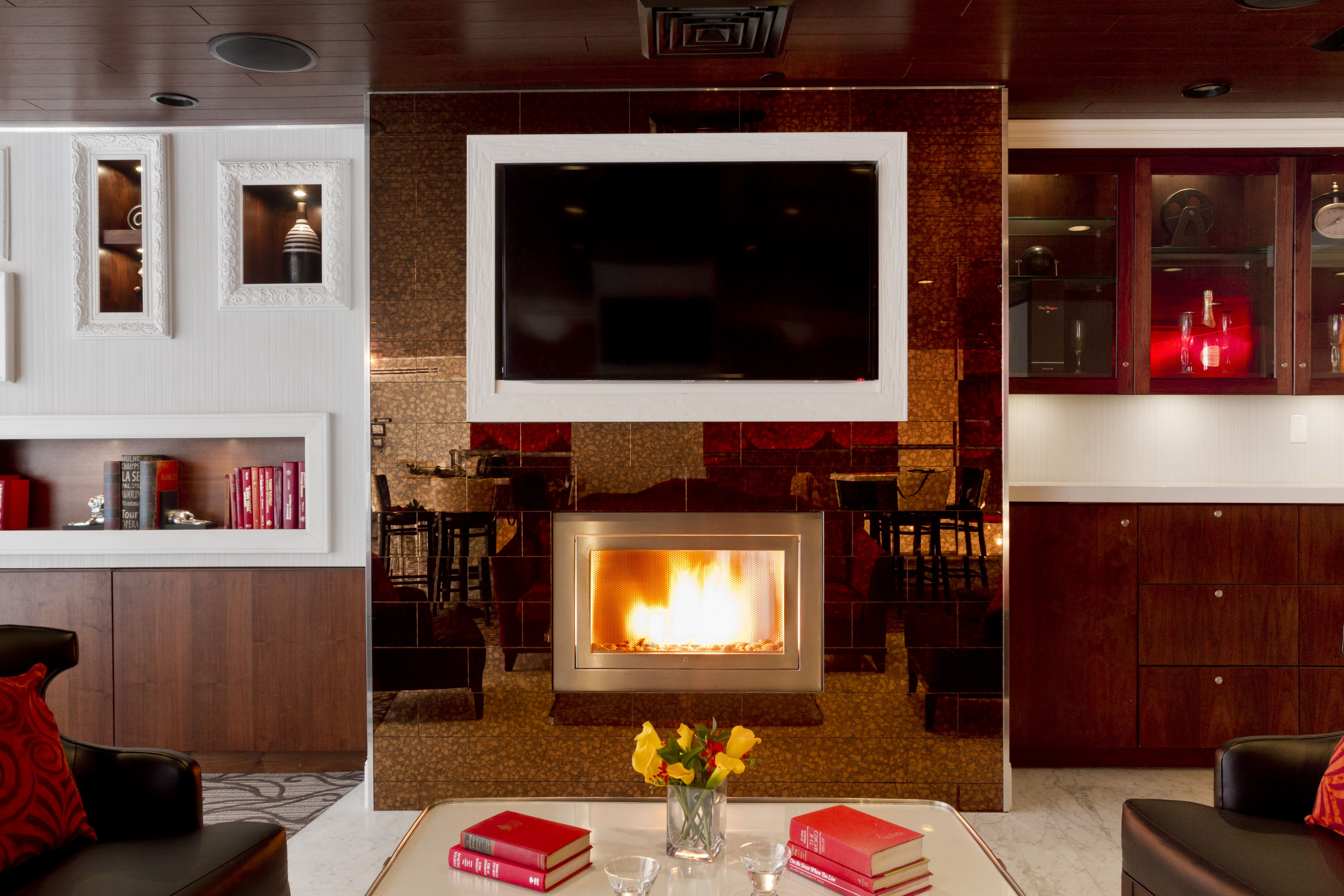 Bar Fireplace And Cozy Chairs Hotel Indigo