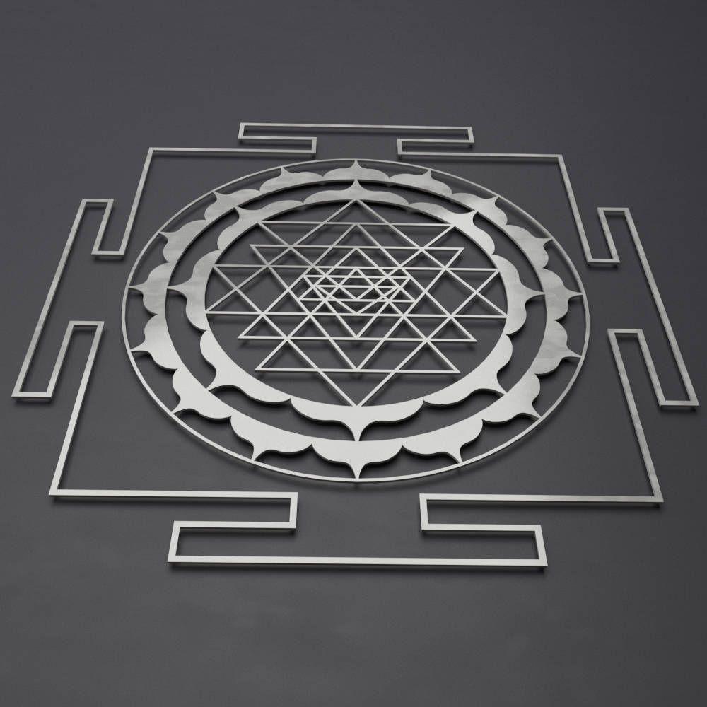Sri yantra lotus mandala metal wall art sculpture with separate