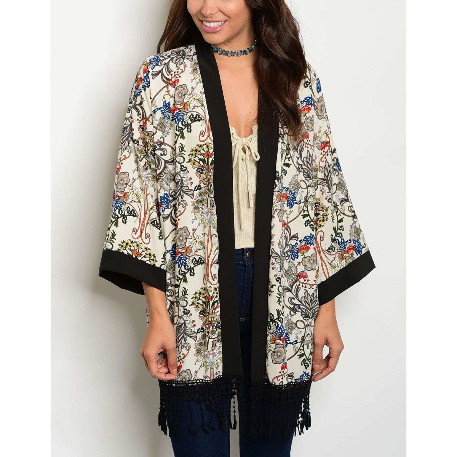 JED Women's Cream & Black Kimono Cardigan | Products | Pinterest ...