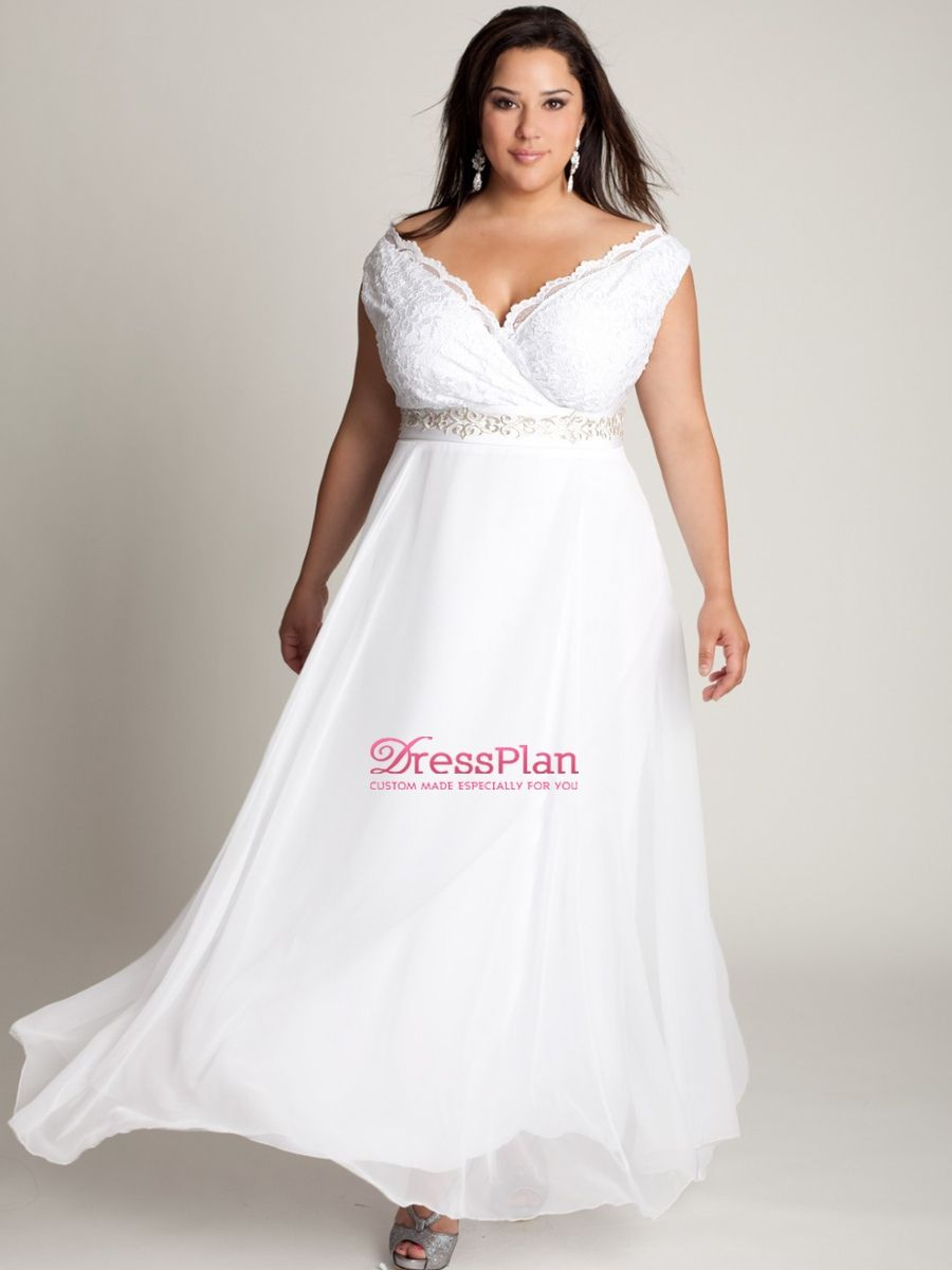 White lace wedding dress with short sleeves  Inexpensive Zipper Plus Size White AnkleLength Short Sleeve ALine