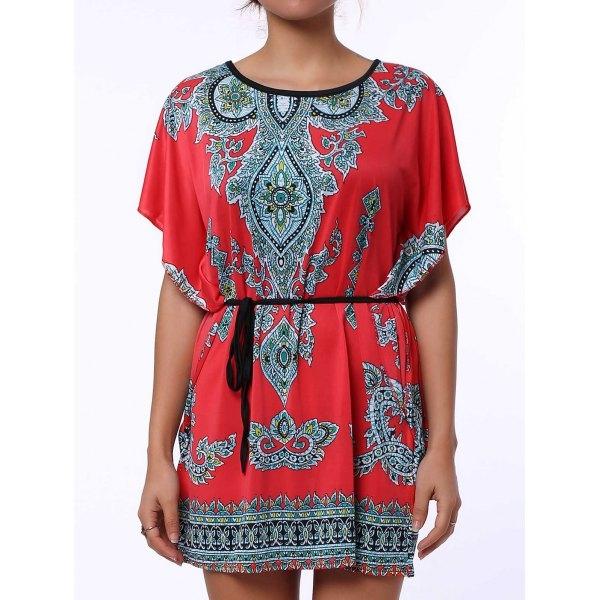 Ethnic Style Scoop Neck Print Color Block Short Sleeve For Women