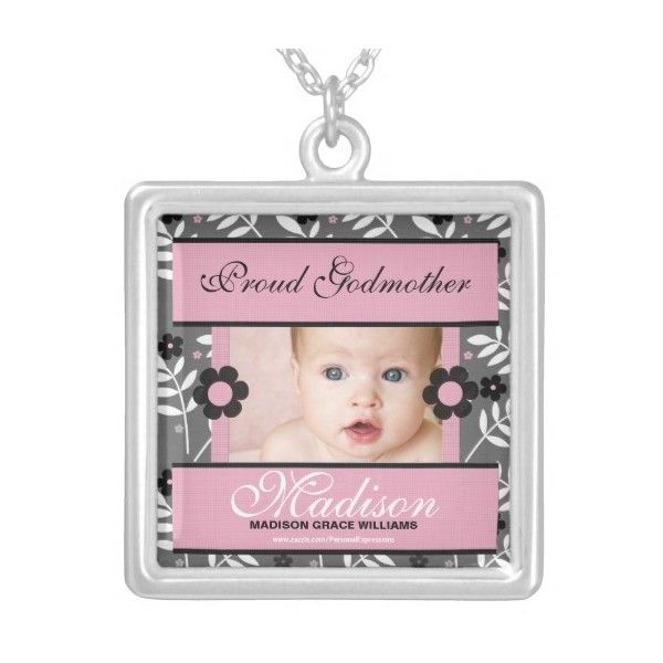 Proud Godmother Personalized Photo Necklace ($32) ❤ liked on Polyvore featuring jewelry and necklaces