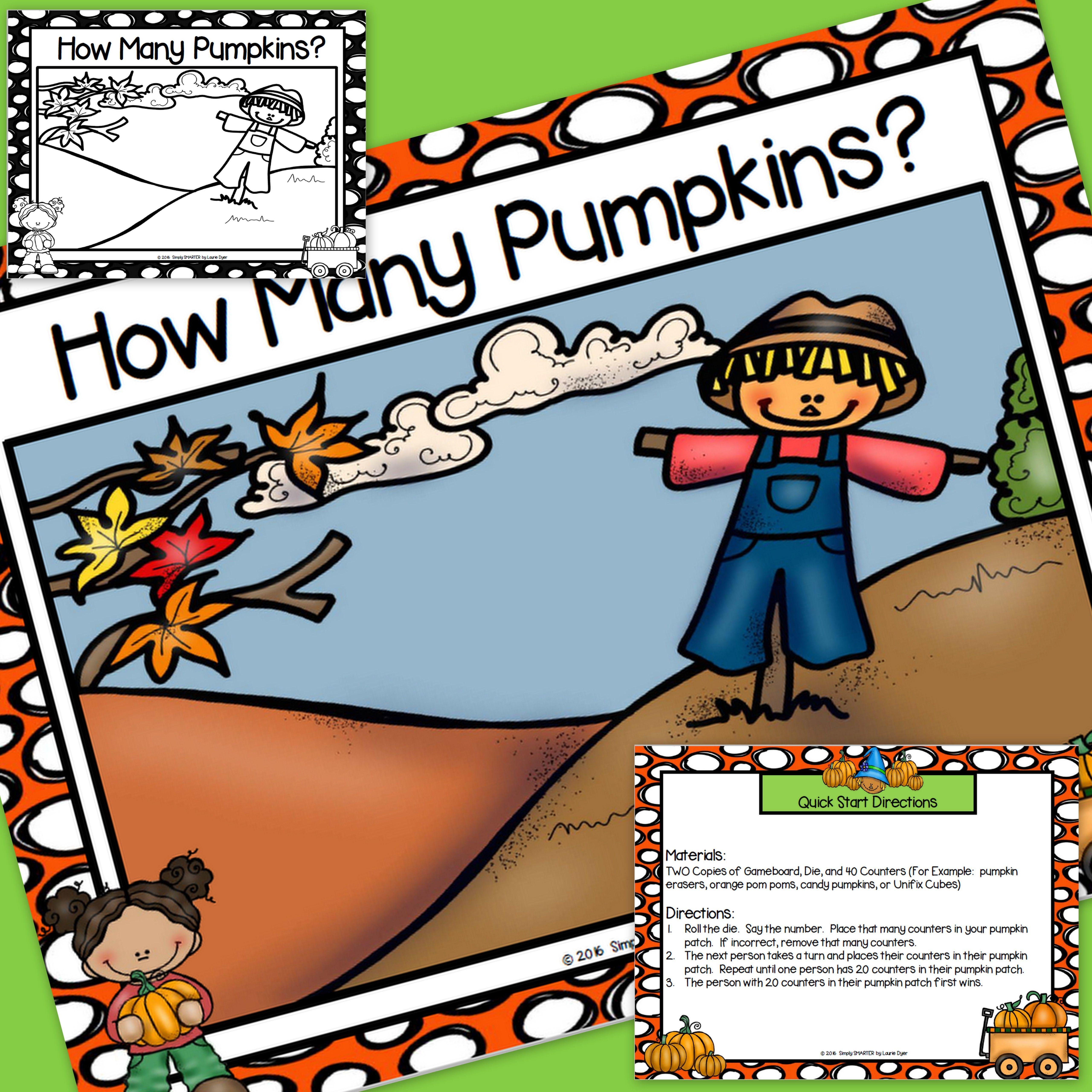 FREEBIE NO PREP How Many Pumpkins? Game Kindergarten