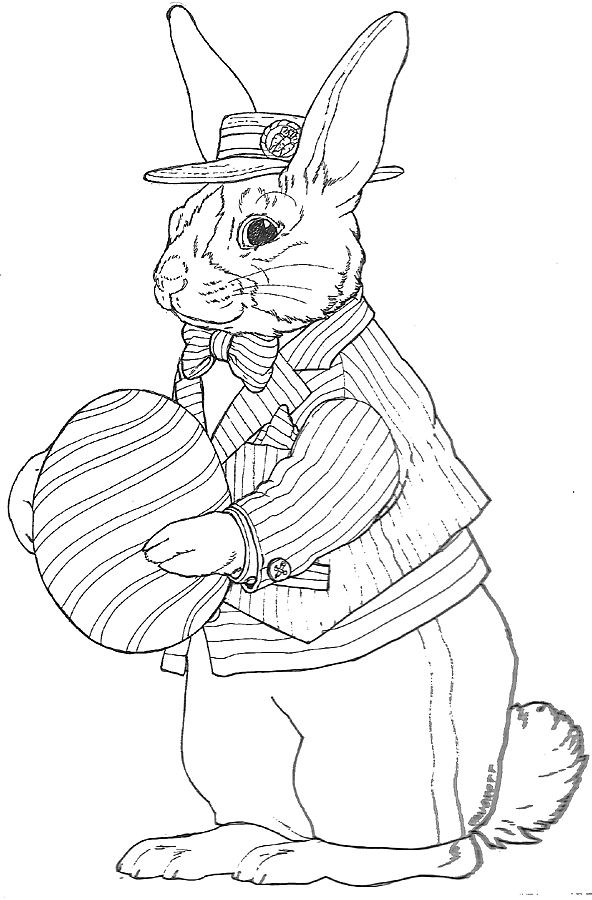 Striped Dutch Bunny Easter Coloring Pages Easter Colouring Easter Art
