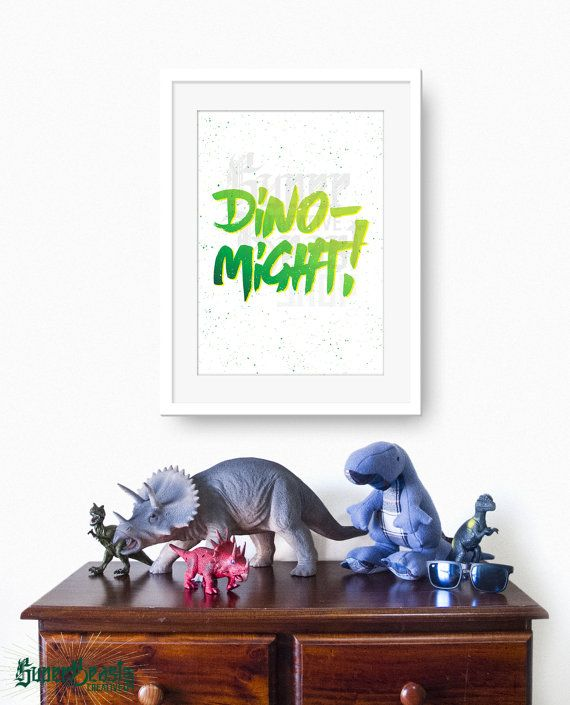Typography Dinosaur Print  Green Dino-Might  by SuperBeastCreative