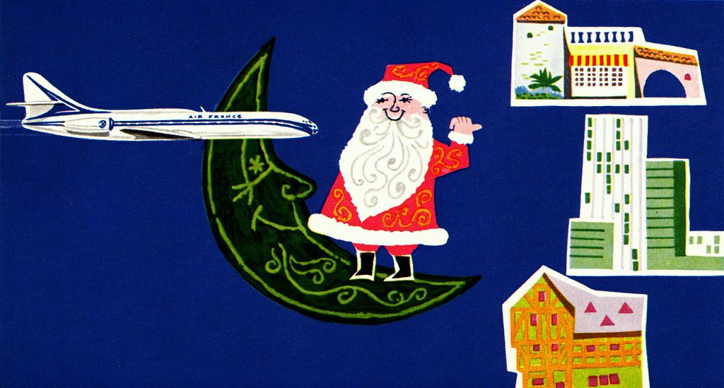 Jean Colin Illustration #2  Greetings card for Air France. From Graphis Annual 59/60.