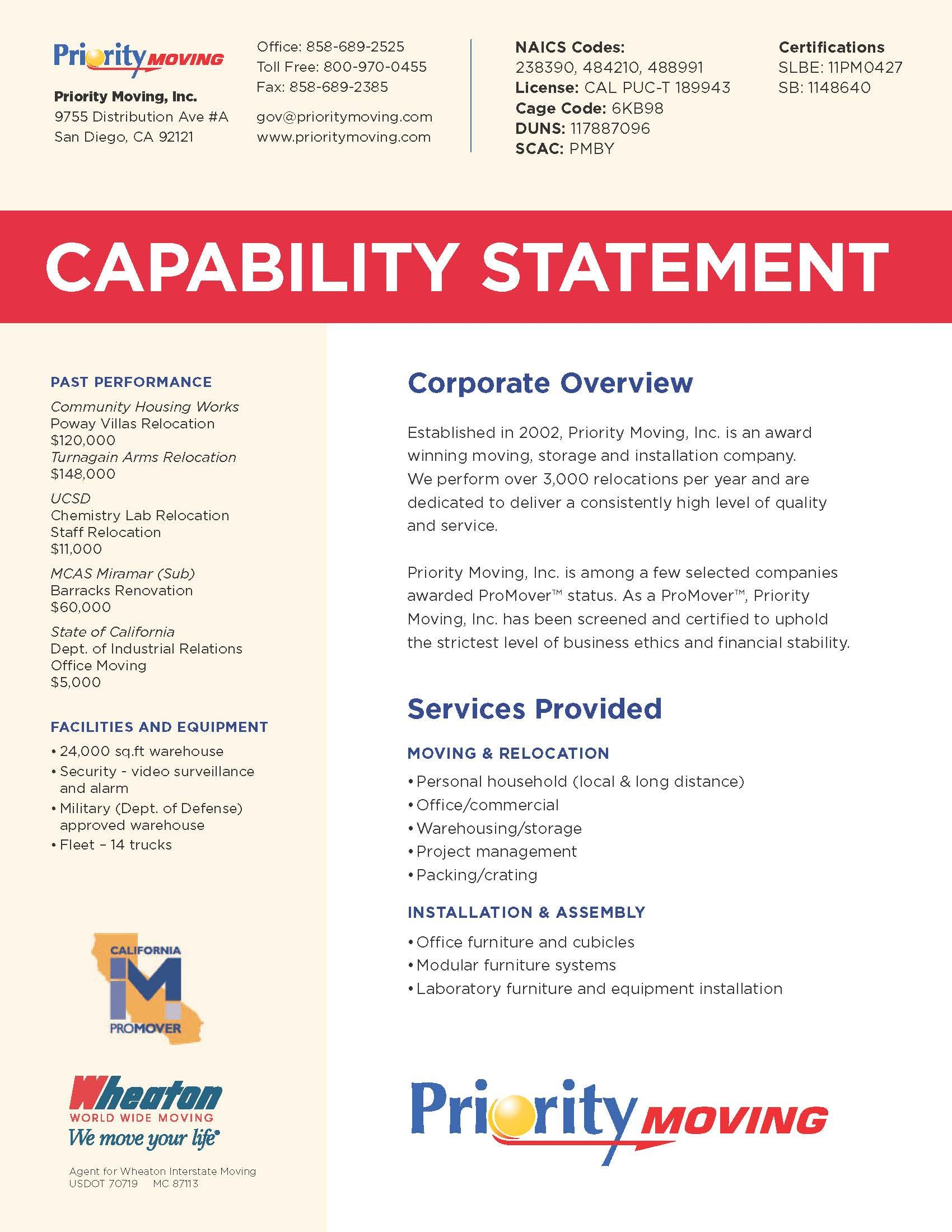 Capability Statement Statement Template Pamphlet Template