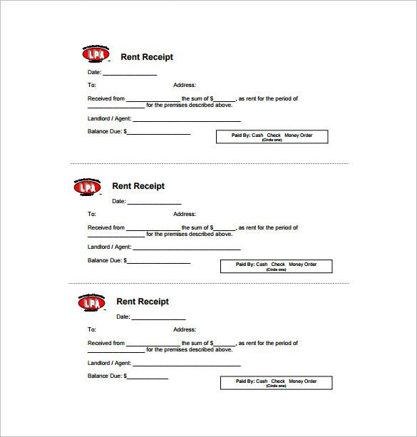 Rent Receipt Free , Receipt Template Doc for Word Documents in ...