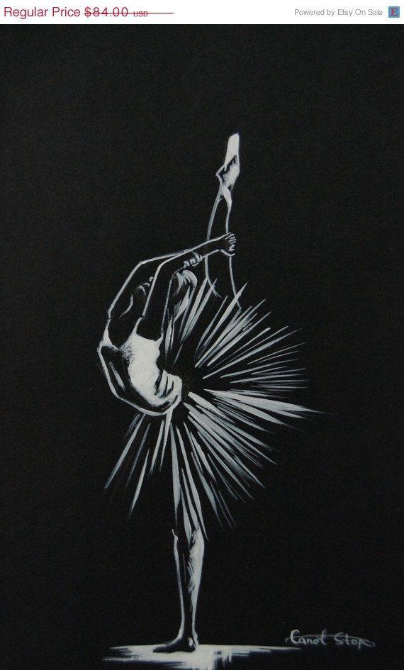 URLAUB VERKAUF Ballerina Original Zeichnung Schwarz und von CanotStop – Gizabell…