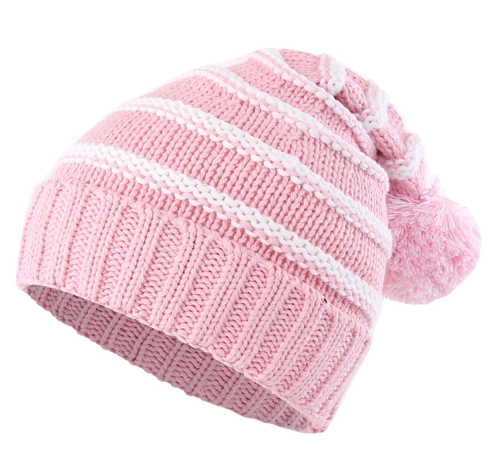 e37453a1d89 Connectyle Toddler Girls Boys Kids Stripe Knit Beanie Cap with Pom Fleece  Lined Winter Hats Pink