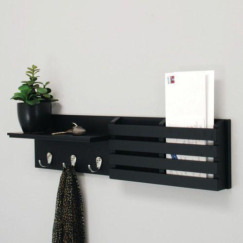 1 Mail Holder Coat Rack hooks NEW White Sydney Nexxt Wall Shelf