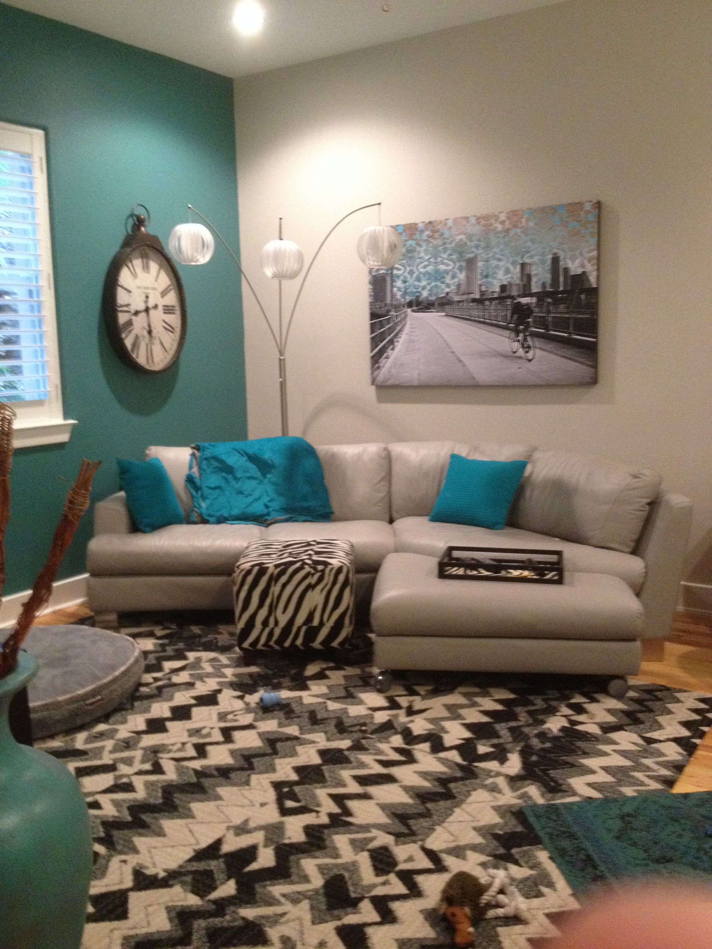 Turquoise accent wall for the home pinterest for Turquoise color scheme living room