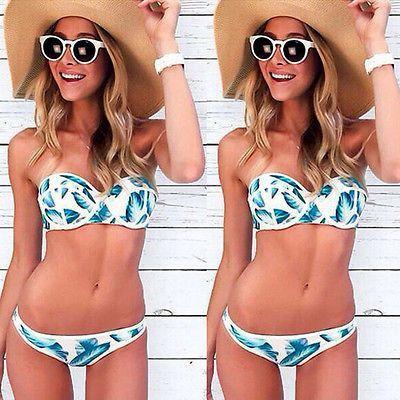 Floral Bikini Swimwear SET Padded Bra Swimsuit Bathing Suit