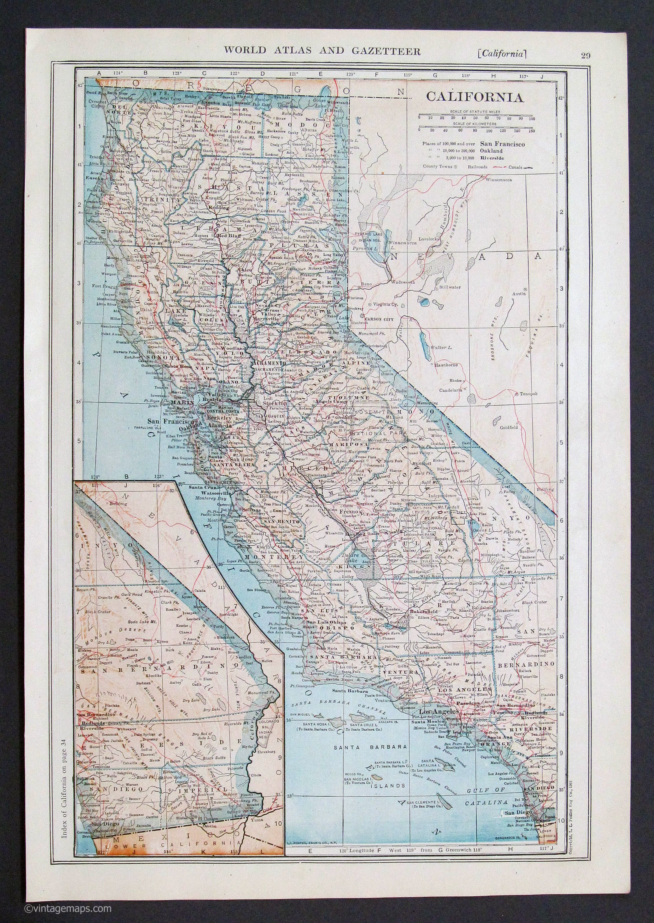 Vintage California map 1921 The Salton Sea still had water then