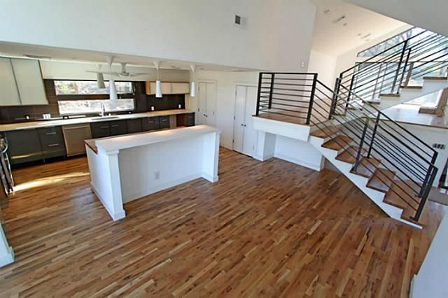 modern kitchen & steel staircase