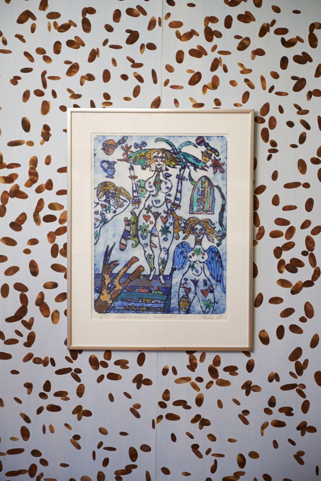 Kunst på tapetet.  Håndtrykt LLZ TAPET CACAOBØNNE Fra udstillingen i Galleri5000 2014