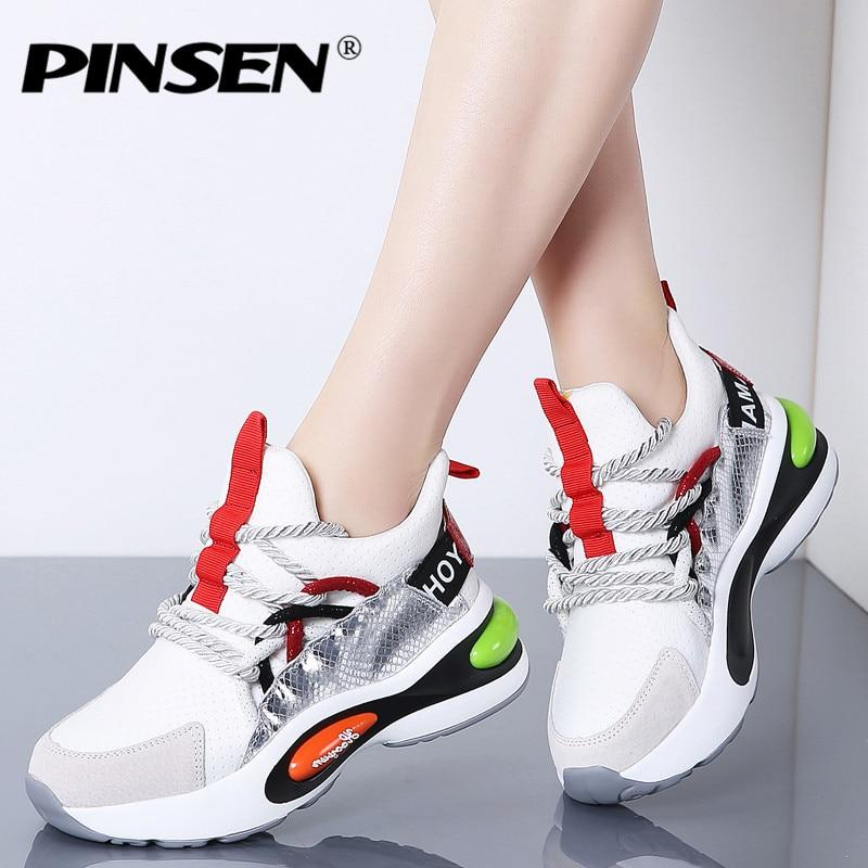 b798a1d49a6 PINSEN 2019 Spring Chunky Sneakers Women High Quality Comfortable ...