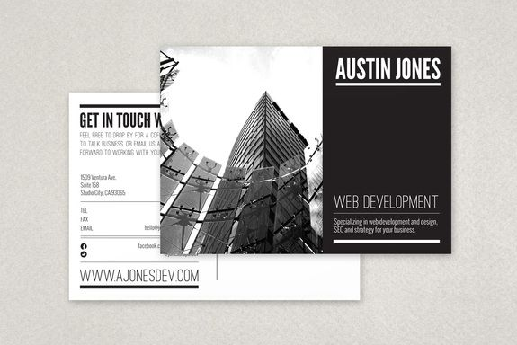 fully editable modern versatile postcard template complete with photos and graphics