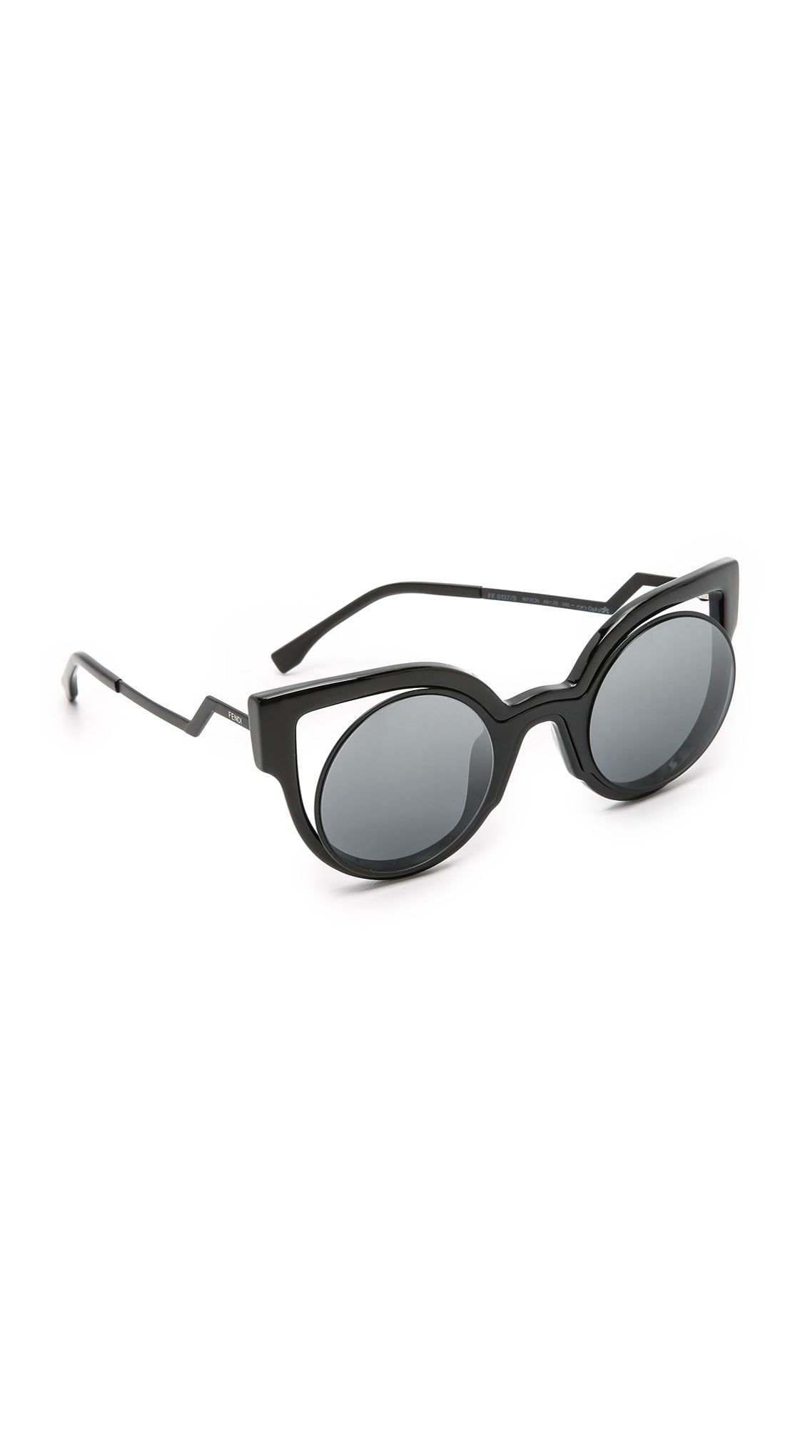 e38ac3571b2 Fendi Round Cutout Sunglasses - Matte Shiny Black Dark Grey ...