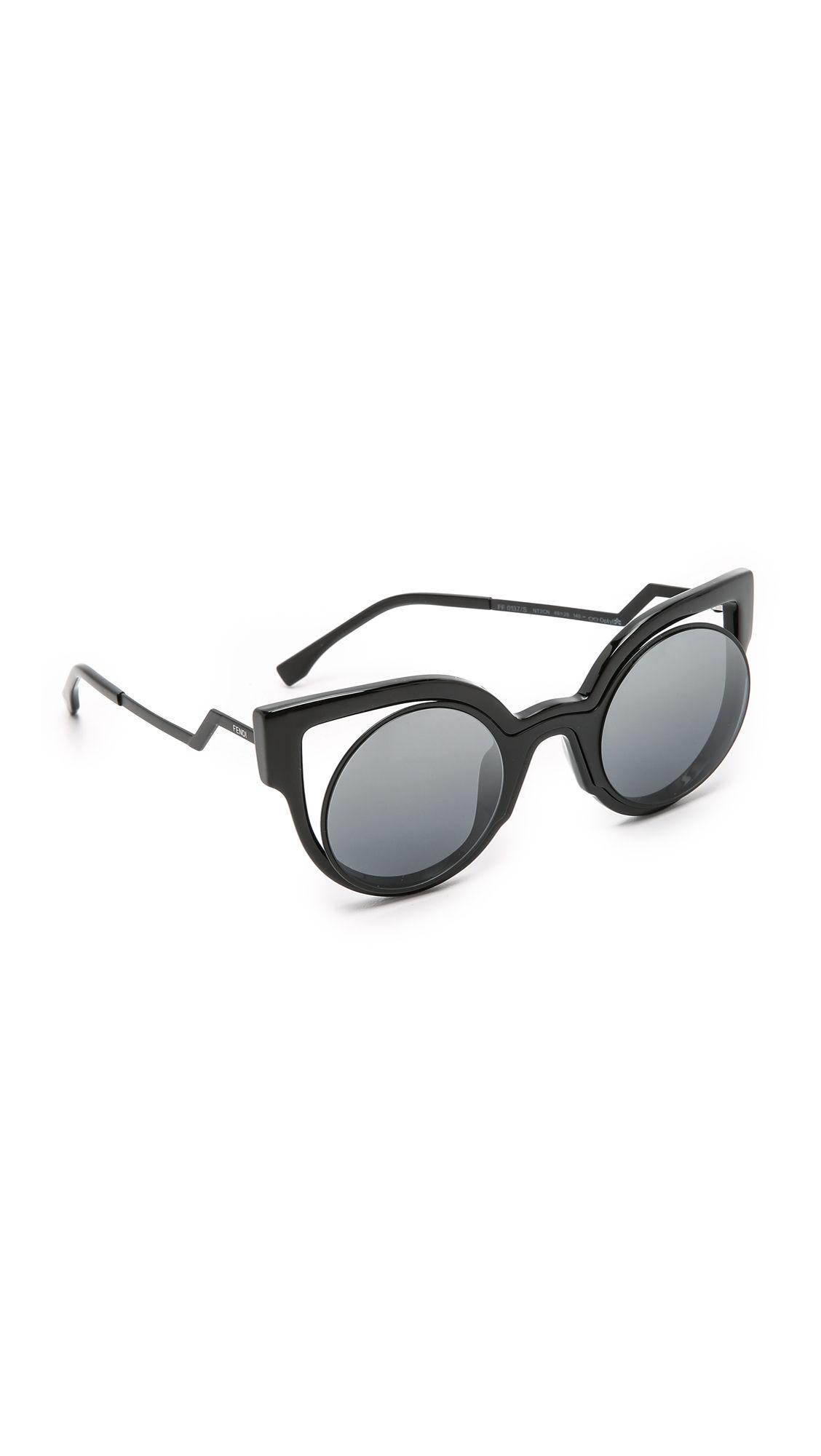 43bebc834f968 Fendi Round Cutout Sunglasses - Matte Shiny Black Dark Grey ...