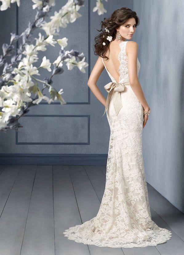 Open Back Sheath Bridal Gown