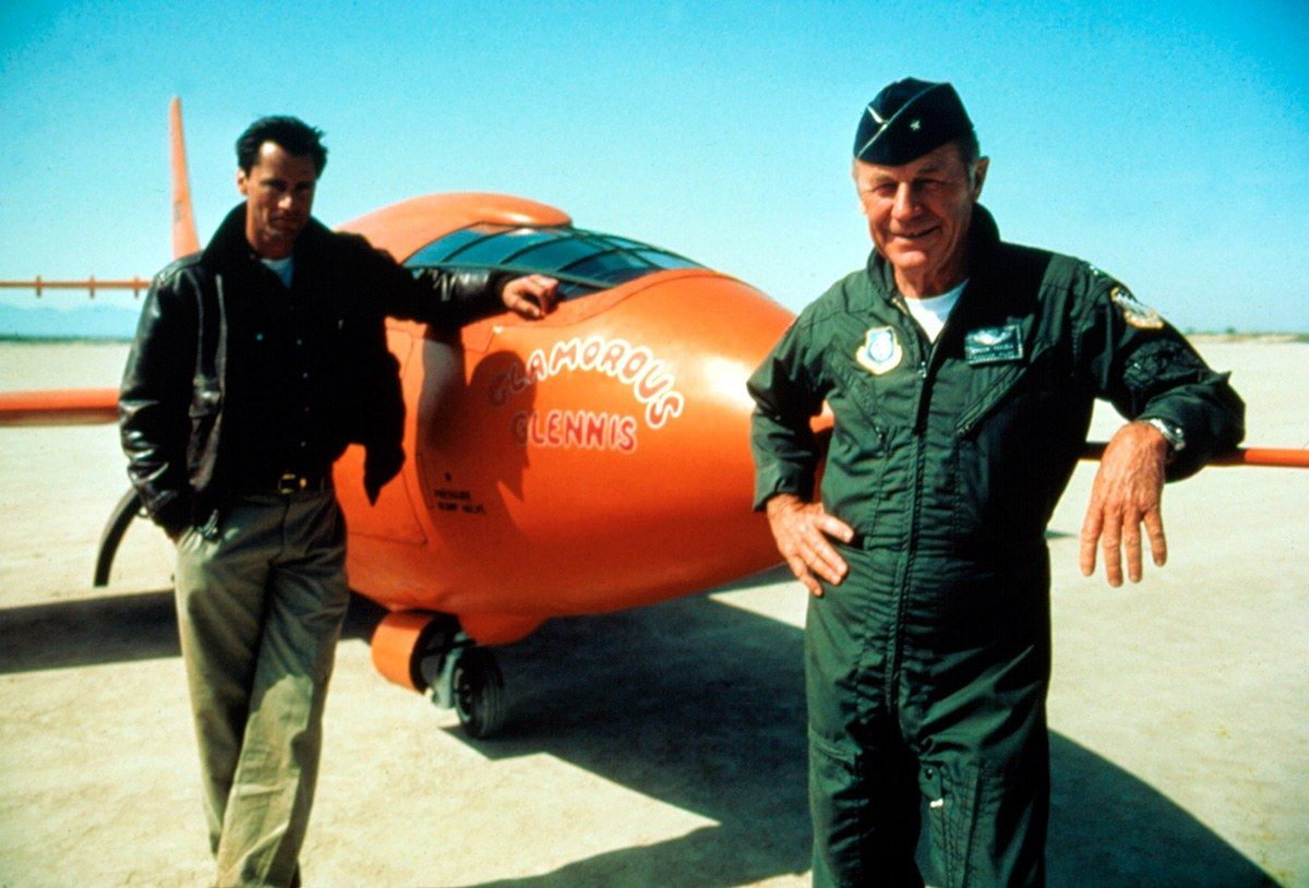 "Actor Sam Shepard (who plays Chuck Yeager) & the real Chuck Yeager (who served as one of the film's technical consultants) on-set during the filming of ""The Right Stuff"" (1983)"