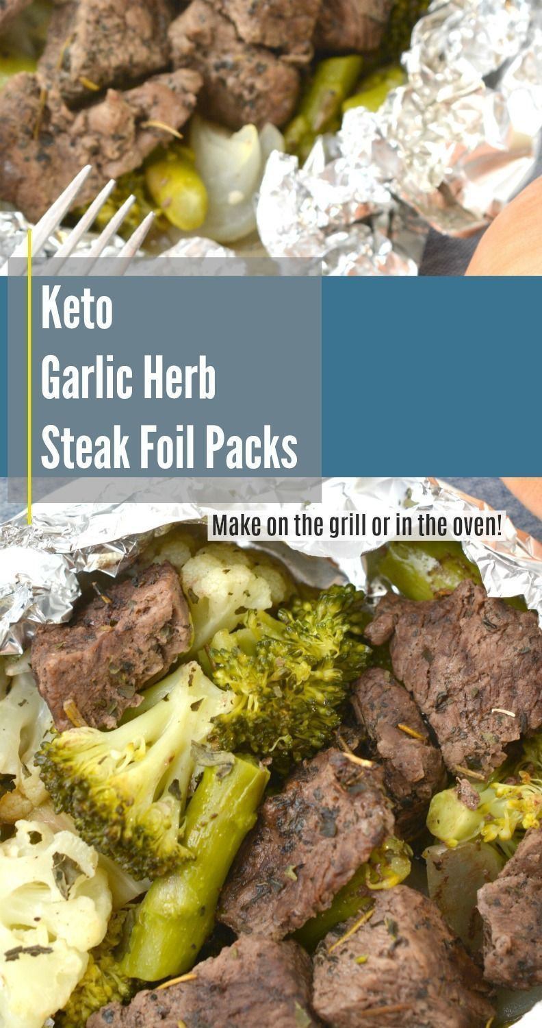 Packs of steak leaves with herbs and garlic Keto Foil Pack Dinners   - Foil Pack Dinners -