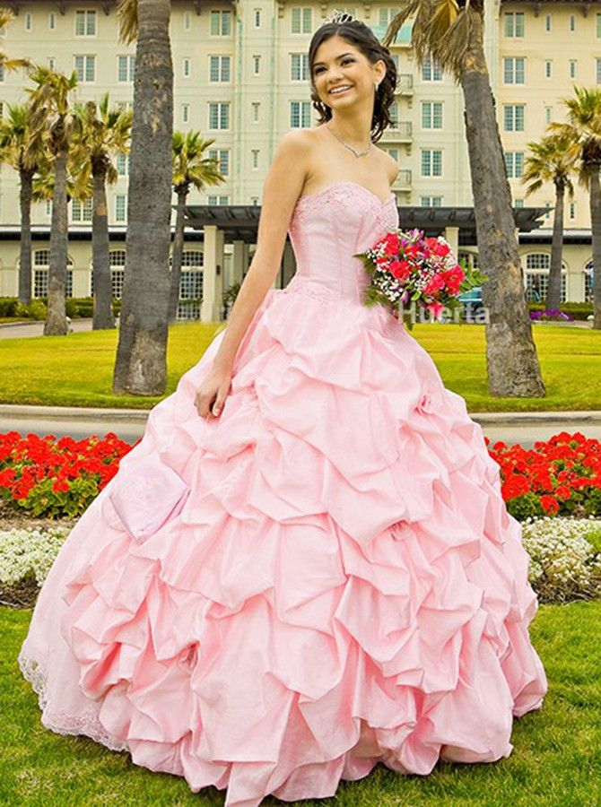 pink sweetheart quinceanera dresses, tiered ball gowns for sweet 16 ...
