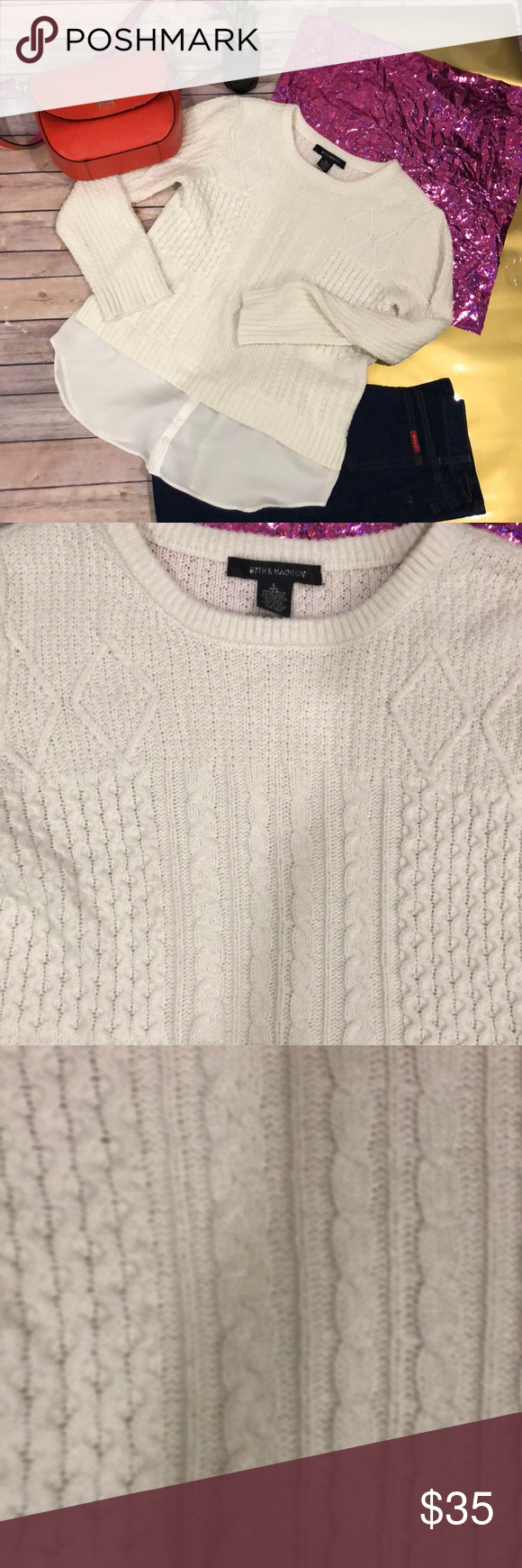 89th Madison Knit Sweater Ivory Super Cute Ivory Illusions And