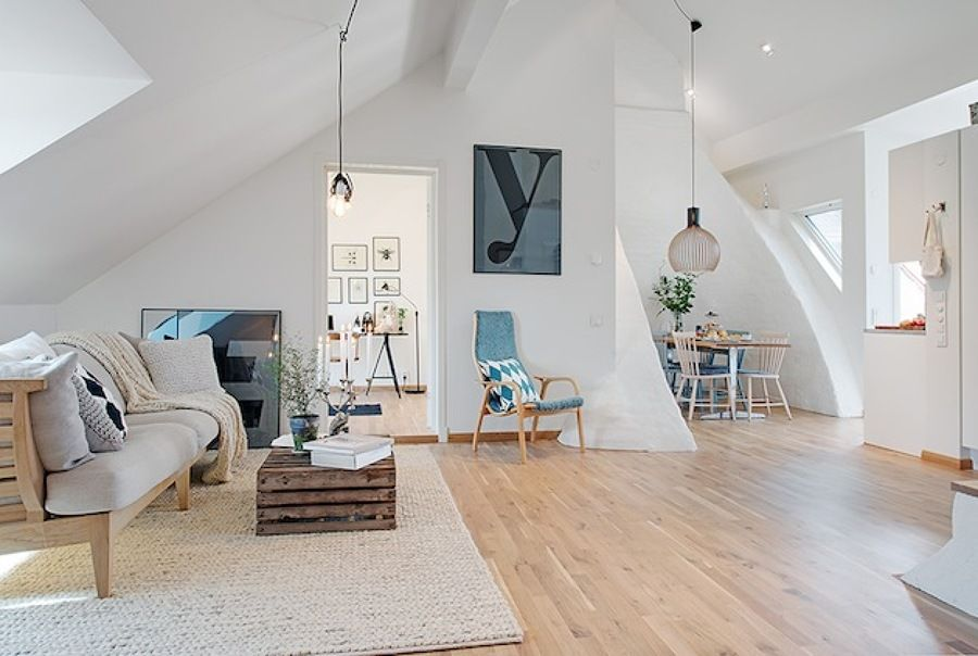 interiorenchanting apartment scandinavian style living room design ideas with white wall and laminated wooden flooring featuring charming pendants light