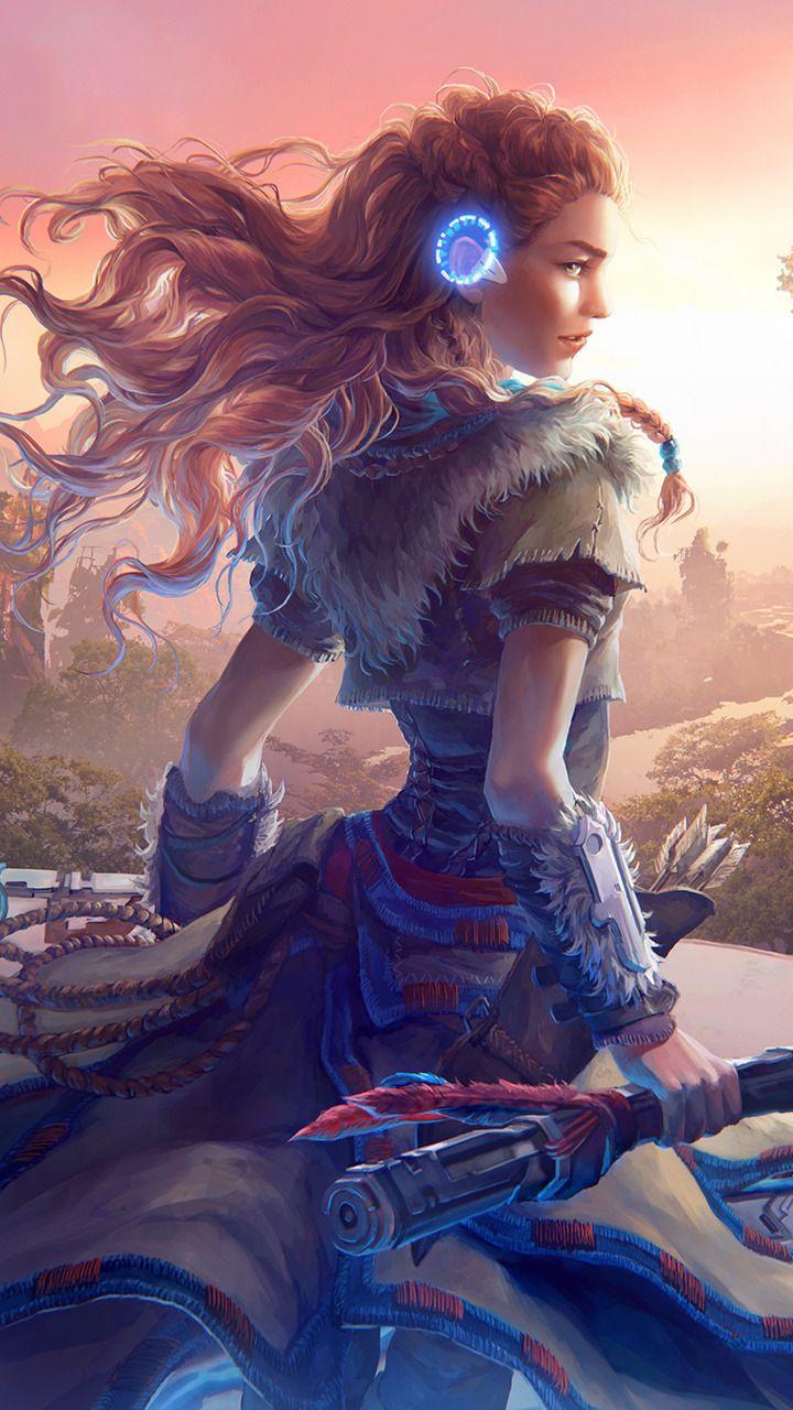 Aloy, warrior, Horizon Zero Dawn, game, artwork, 720x1280 wallpaper
