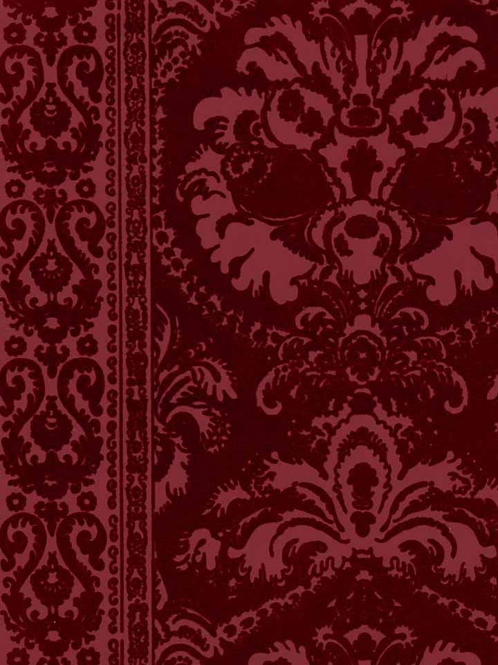 Victorian flocked velvet wallpaper tone on tone burgundy designer wallcoverings