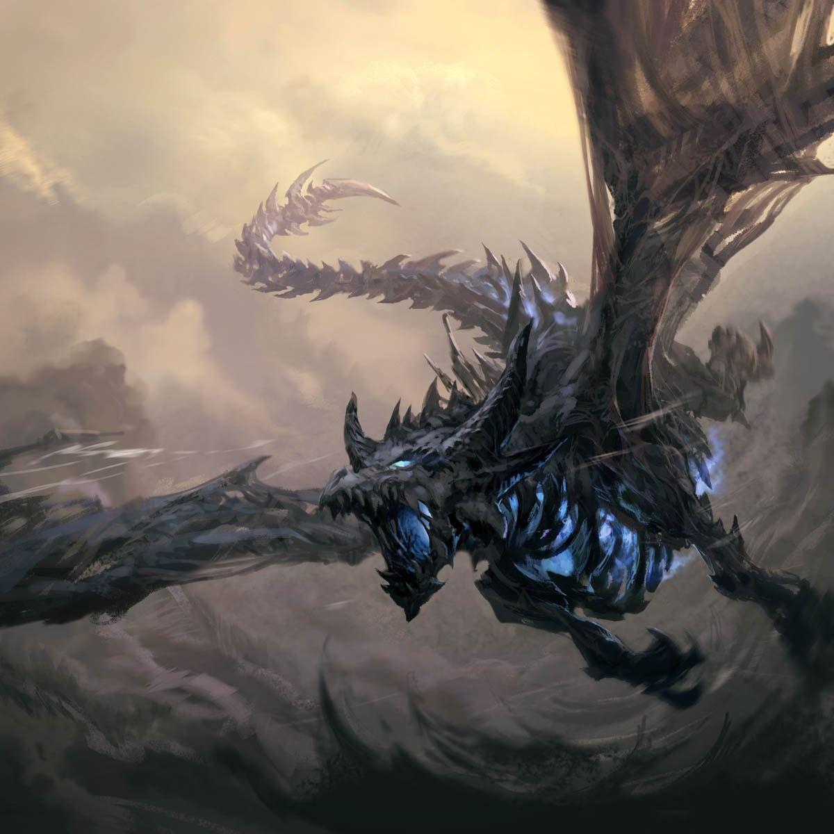 体内から青白い光を出すドラゴンの壁紙