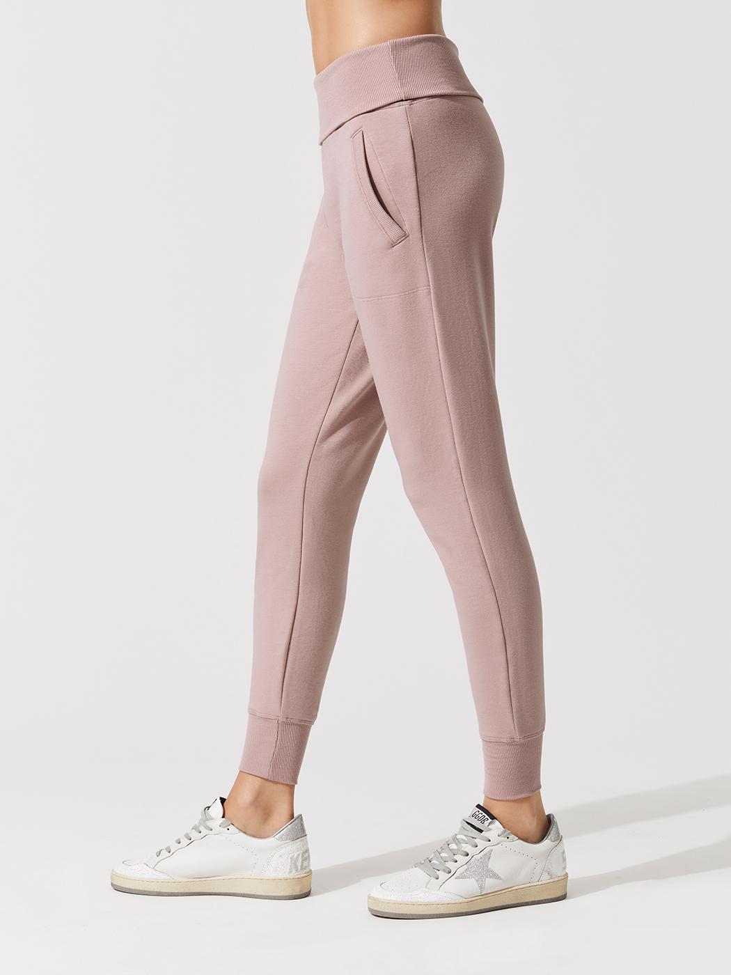 d89d8c7567 Beyond Yoga COZY FLEECE FOLDOVER LONG SWEATPANT - Brazen blush - Fashion  Activewear Dance Clothing Company