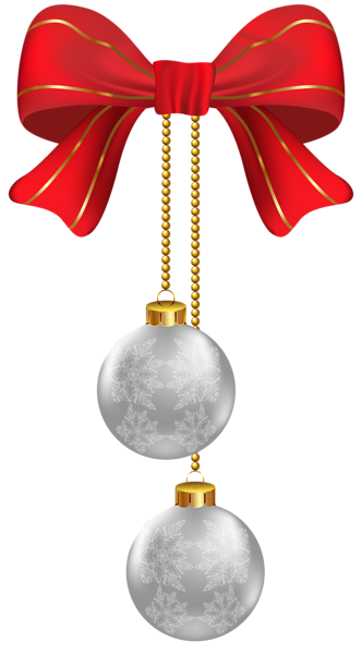 Hanging Christmas Silver Ornaments PNG Clipart Image ...