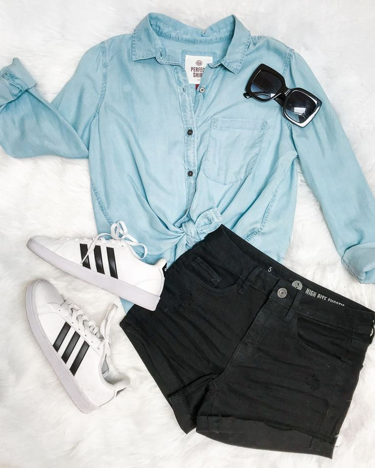 Cute outfit idea for the first day of school! Chambray button down with  black jean shorts and classic adidas sneakers  7203c6ee0c0