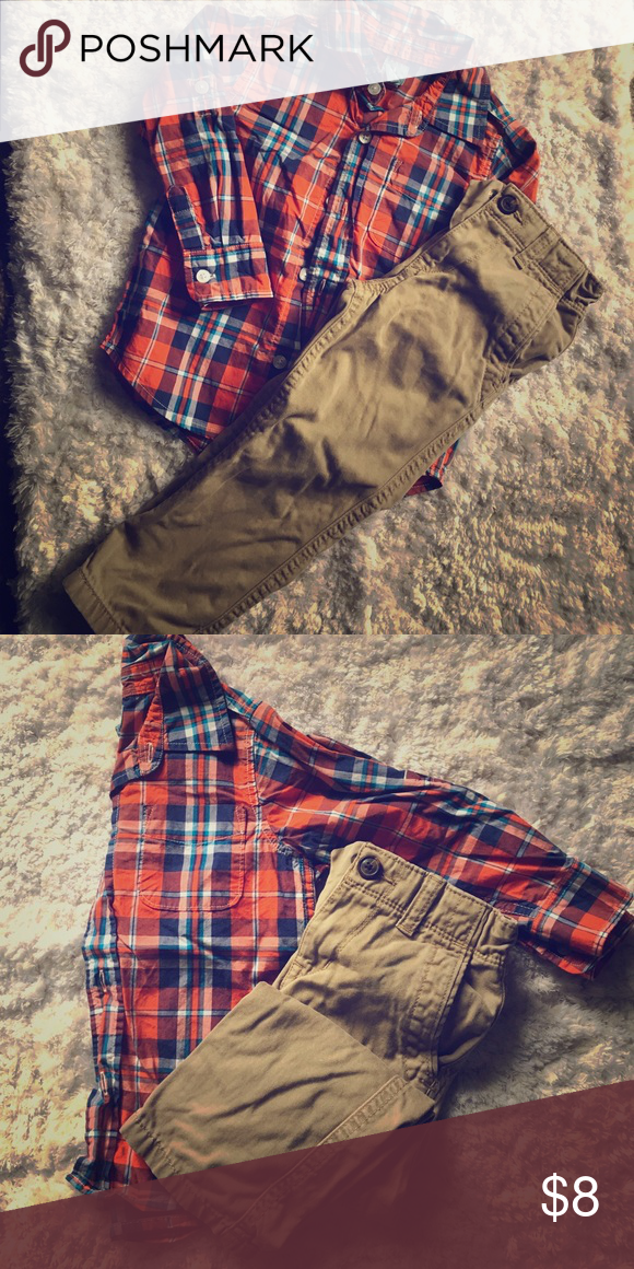Plaid button up set Cutest plaid top paired with khaki pants! Perfect with a graphic tee layered underneath!                                          📦fast shipping 🚭non smoker 🛍bundle to save GAP Matching Sets