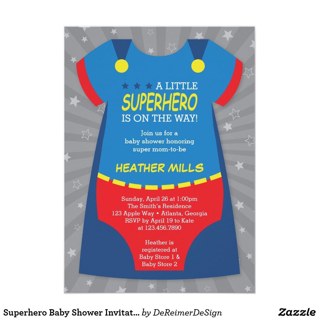 Superhero Baby Shower Invitation, Blue, Red Card Celebrate the ...