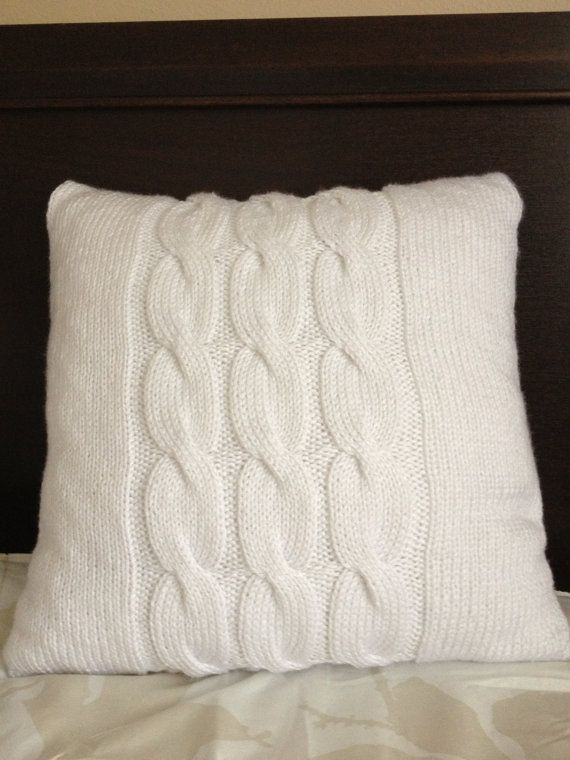 Hand Knitted White Pillow Cable Pattern Pillow Included