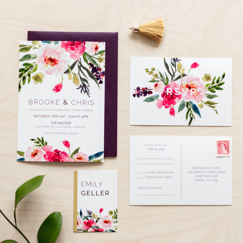 Printable Wedding Invitation Set | Wedding Invitation + RSVP ...