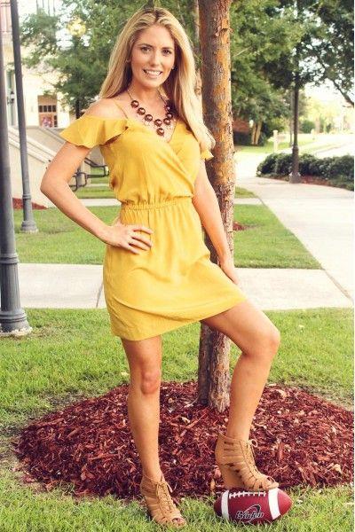 She Scores Dress in Mustard